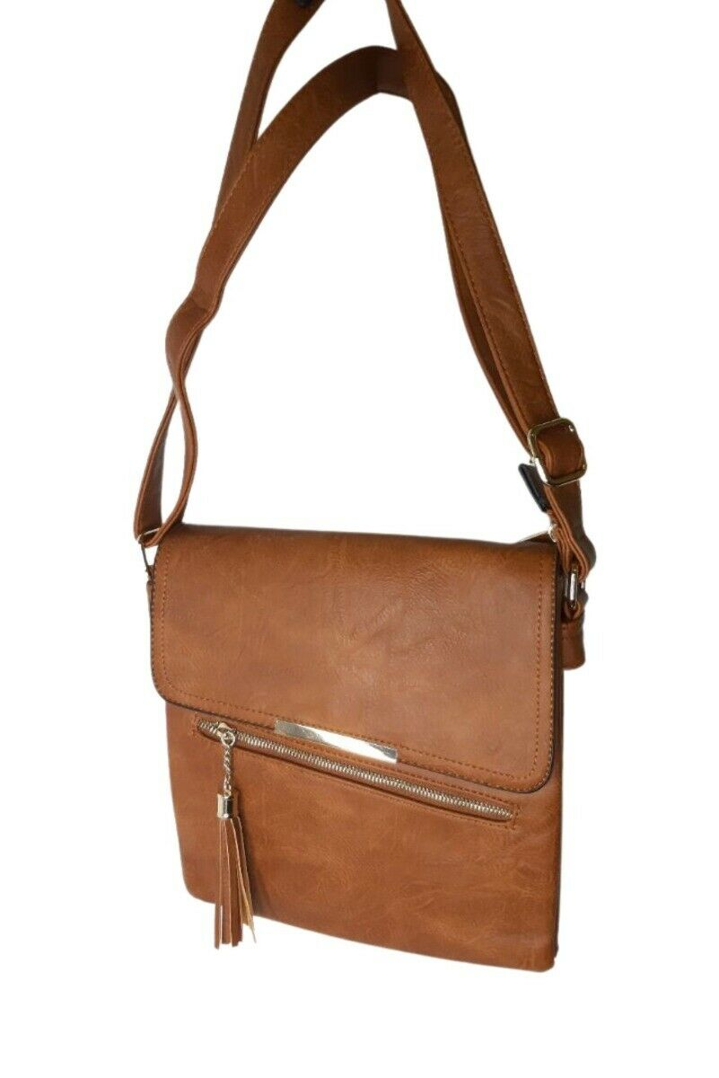 Brown Faux Leather Shoulder Bag - One Size