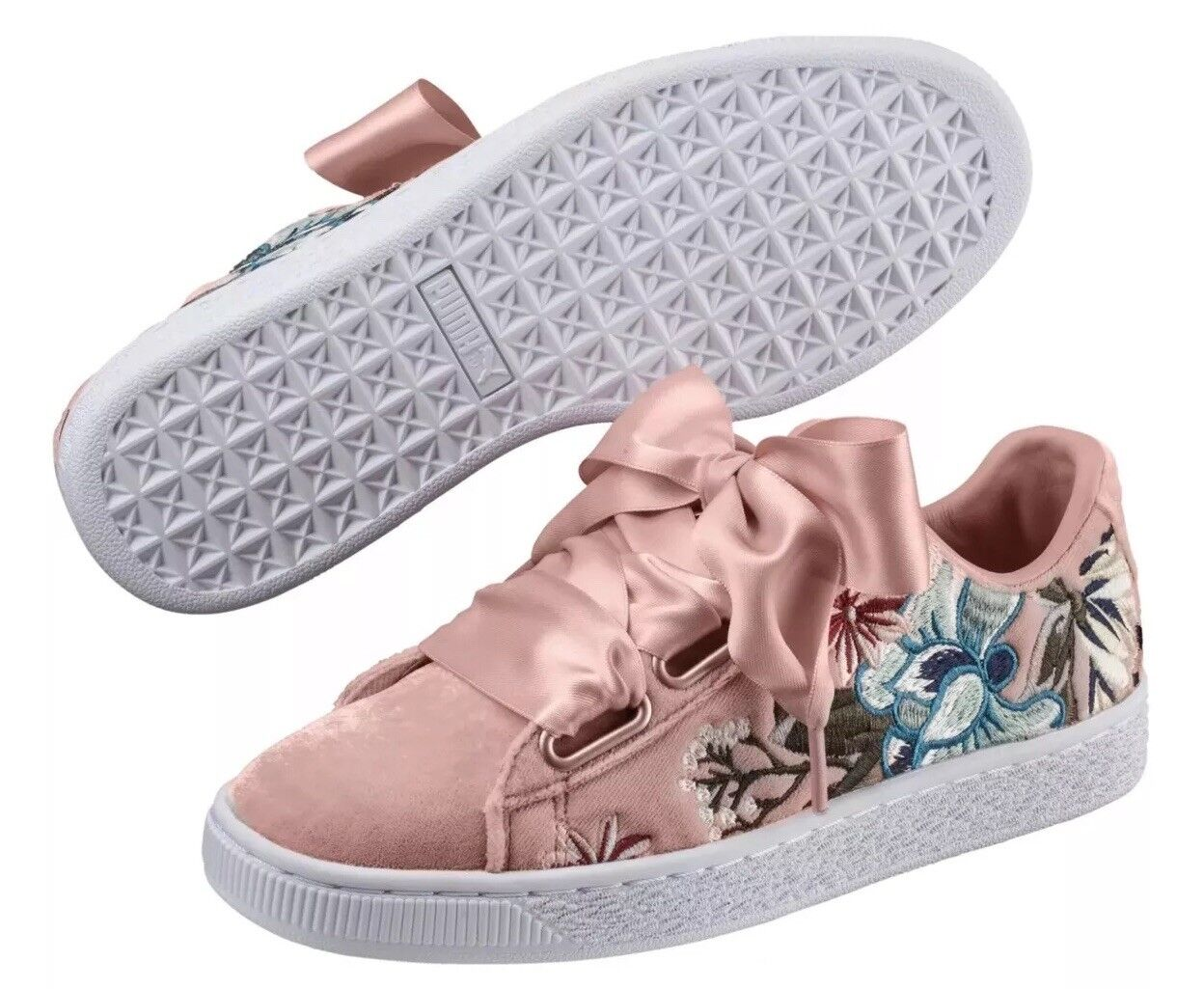 PUMA  Basket Heart Hyper Hyper Hyper Embroidered Pink Size 6.5 37 New In Box 68854e