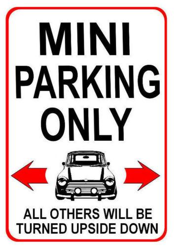 MINI PARKING ONLY Metal SIGN NOTICE classic austin leyland cooper fun car plaque