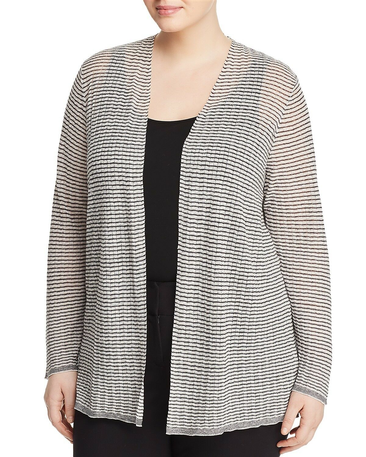NEW EILEEN FISHER GRAPHITE BONE FINE ORGANIC LINEN CREPE KNIT CARDIGAN  2X