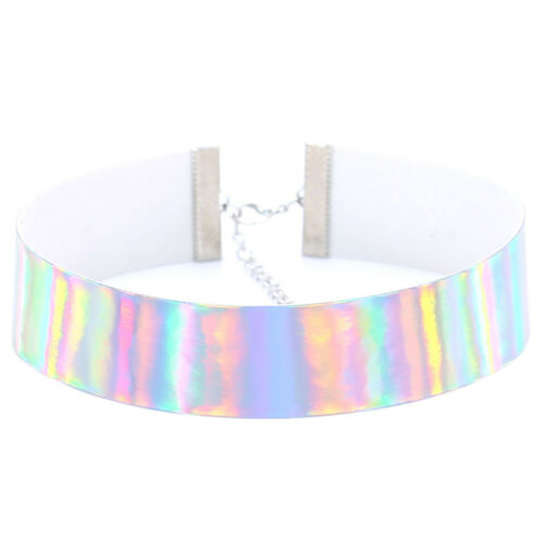 Holographic Choker Fashion Women Punk Laser Clasp Lobster Clasp Necklace Jewelry