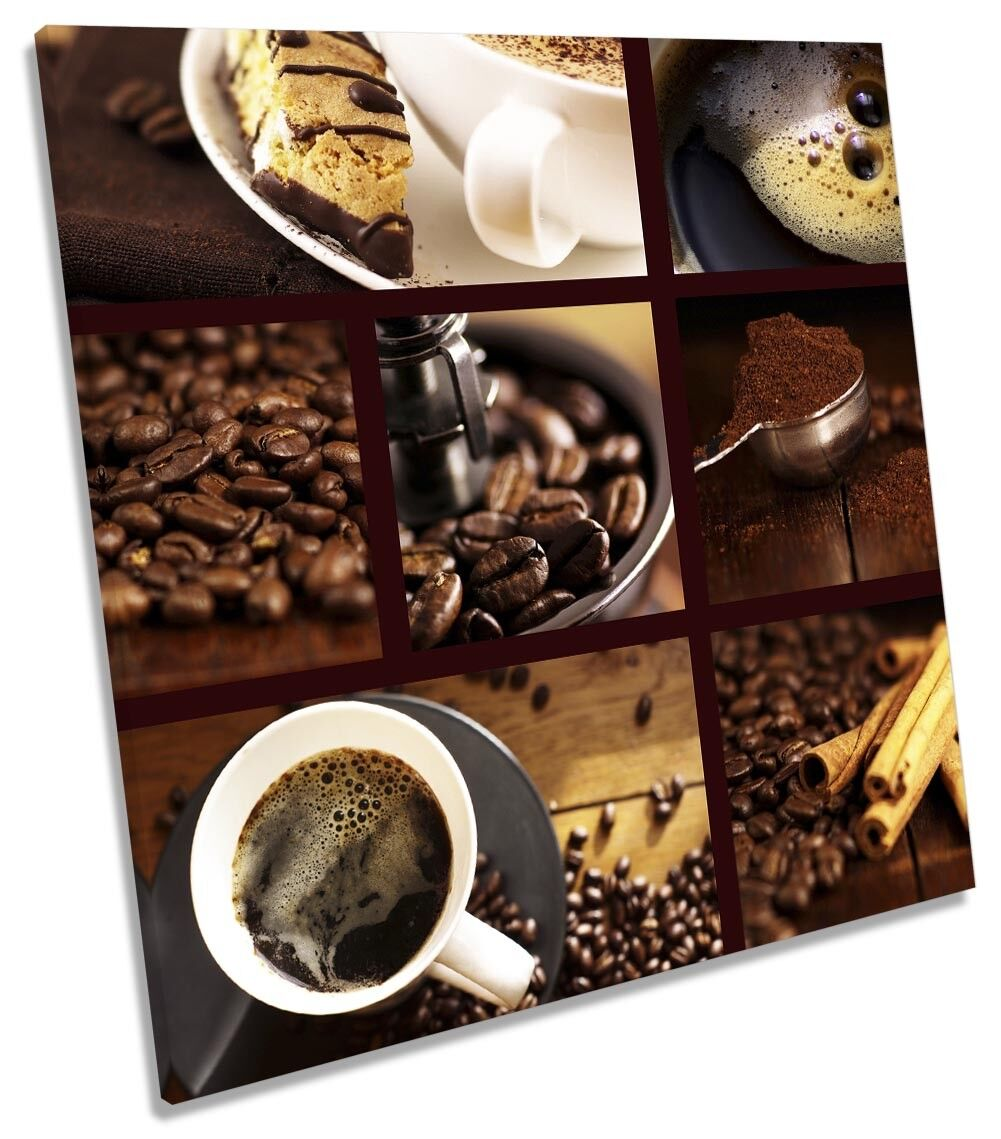 braun Coffee Kitchen Collage Picture CANVAS WALL ART Square Print