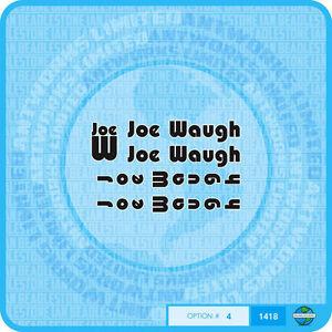 Joe Waugh Decals - Transfers - Stickers - Black With White Key Line - Set 4
