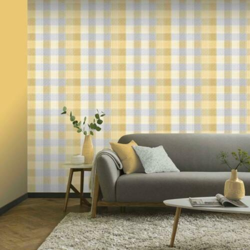 Yellow and Grey Country Check Wallpaper by Arthouse 902807