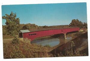 Vintage-Indiana-Chrome-Postcard-West-Union-Bridge-Sugar-Creek-Parke-County