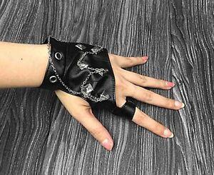 Womens Punk Rock Leather Rivet Studs Biker Driving Fingerless Half Finger Gloves