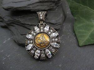 Ausgefallener-925-Silber-Anhaenger-Edel-Zirkonia-Mosaik-Mandala-Knoten-Boho