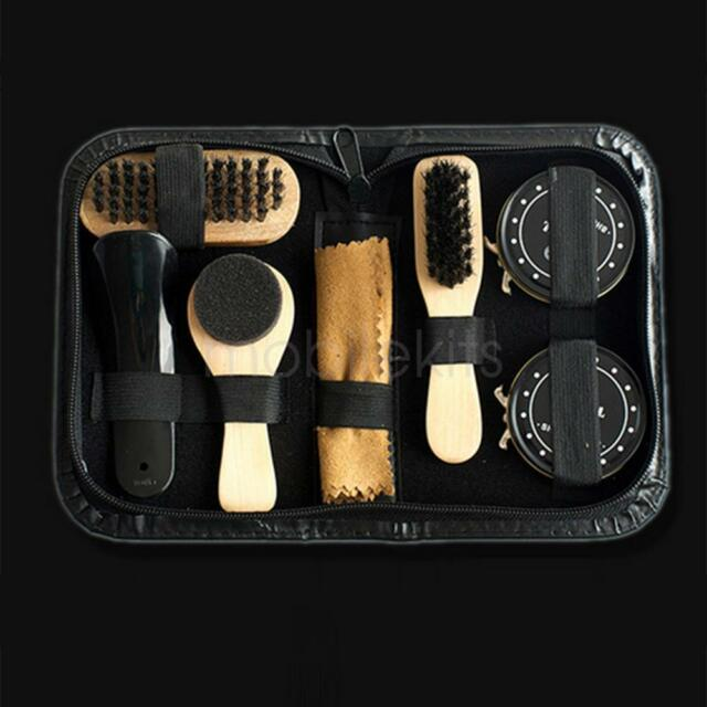 Outdoor Travel Boot Shoes Shine Care Set Wooden Polish Brush Kit Cleaning Tool