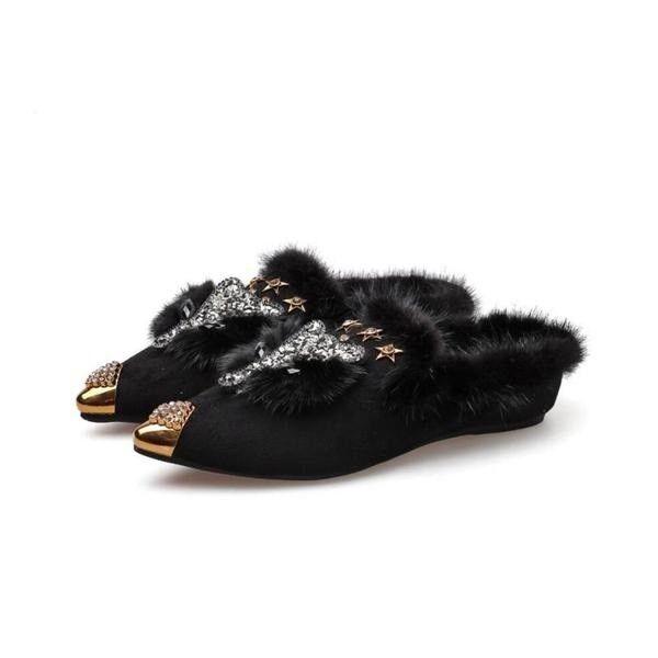 Ballerinachaussures slipper chaussures frau klassische noir haar elegante und