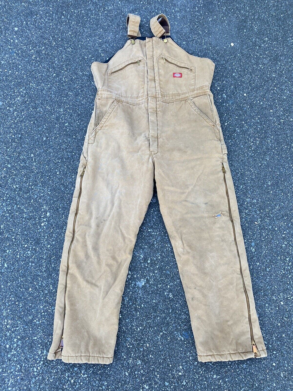 DICKIES INSULATED BIB OVERALLS DUCK BROWN SIZE 42… - image 1