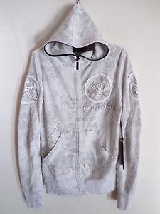 Mens-Salvage-sun-spade-leather-design-hoodie-cement-gray-jacket-Karma-SZ-XXL