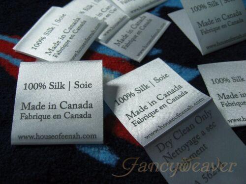 1000pcs Custom Printed Satin Label Single Color for warning// care instruction