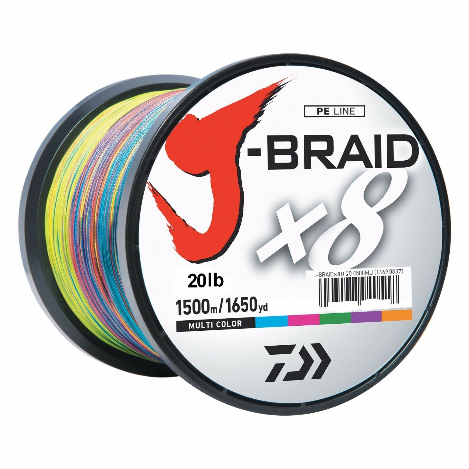 Daiwa J-BRAID Braided MULTI-COLOR Line 20lb 1650yd 1500 Meter 20-1500MU