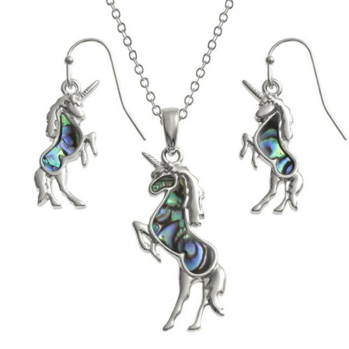Tide Jewellery Inlaid Paua Shell Unicorn Necklace /& Dangly Earring VARIOUS COLOU