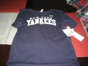 63edae32 Details about WOMENS UNDER ARMOUR MLB HEATGEAR NEW YORK YANKEES SHIRT NAVY  SIZE S SMALL NWT