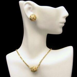 Vintage-14K-Gold-Necklace-Earrings-Set-Slide-Pendant-Tiny-Stones-Red-Blue-Green
