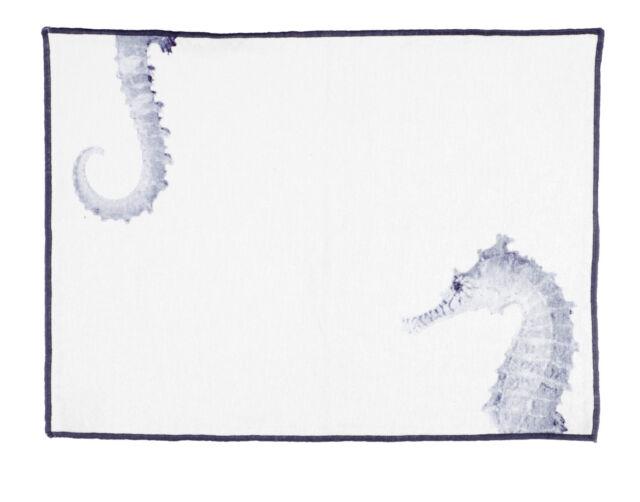 1 Tischset Seahorse Seepferdchen WEISS blau 35 X 50 Blanc MARICLO Toskana