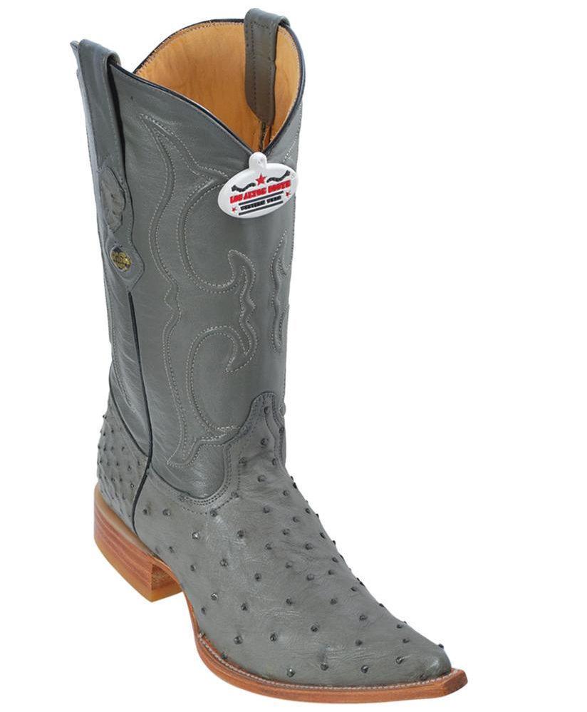 Los Boots Altos Genuine GRAY Ostrich 3X Toe Boots Los Handmade Western Cowboy D ee2268
