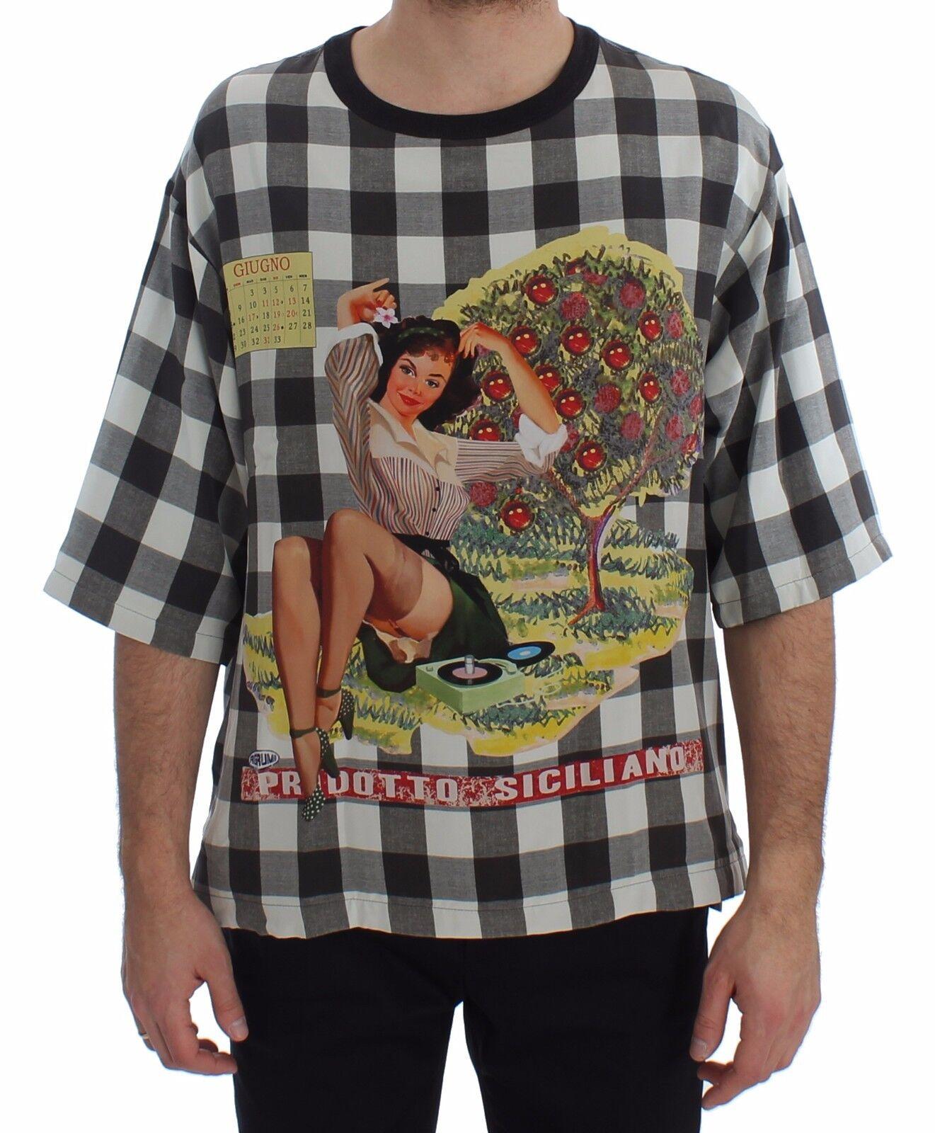 NUOVO DOLCE & Gabbana T-shirt collo tondo prodotto siciliano di seta con stampa