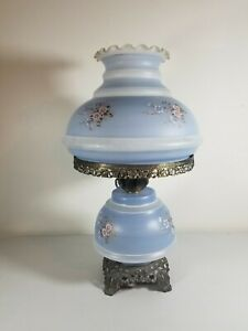 GWTW-RARE-ANTIQUE-3-WAY-PARLOR-SIZE-MILK-GLASS-FLORAL-THEME-HURRICANE-LAMP-BLUE