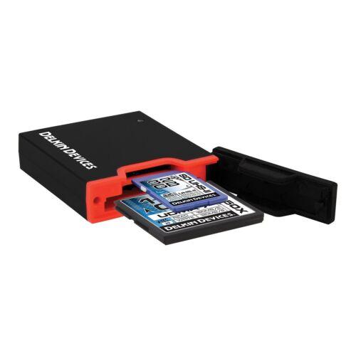 Black Delkin USB 3.0 Dual Slot SD UHS-II and CF Memory Card Reader