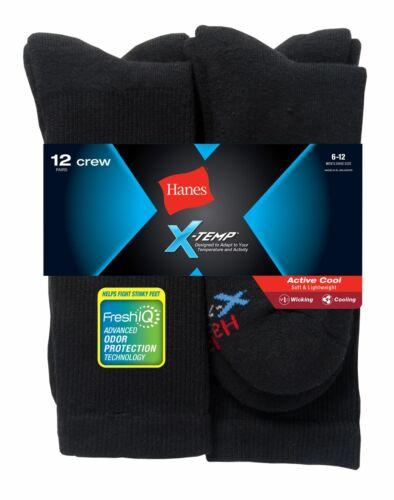 Hanes Mens FreshIQ X-Temp Active Cool Crew Socks 12-Pack