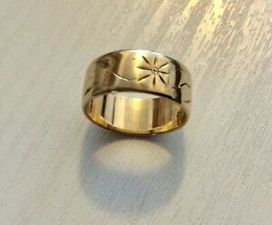 Lovely-Ladies-Vintage-Full-Hallmarked-Heavy-9CT-Patterned-Wide-Band-K-1-2-app