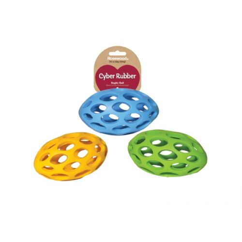 Cyber Lattice Rugby Ball Interactive Fetch Tough Durable Dog Toy Rubber Rugby