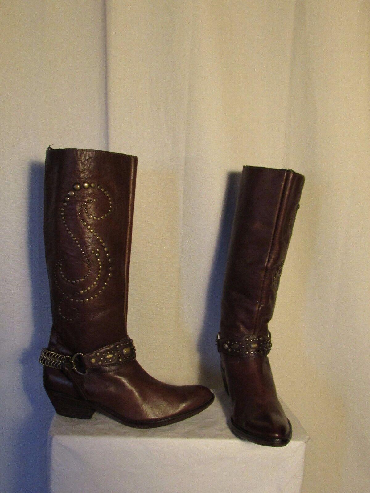 Bottes western ASH cuir marron clouté 37