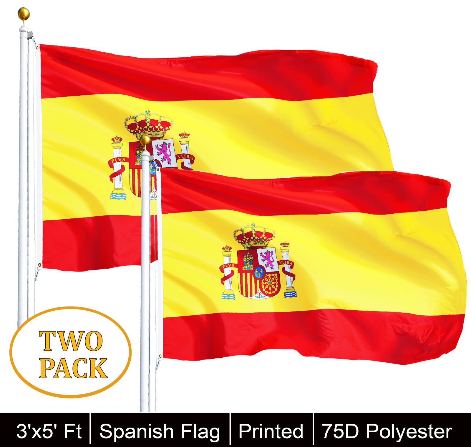 2 Pack 3x5 Spain Spanish Espanol Flag 3/'x5/' House Banner grommets polyester
