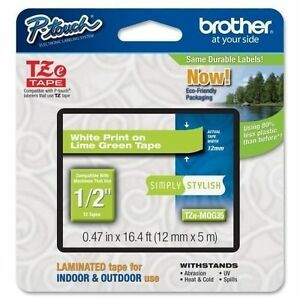 """Genuine Sealed - Brother TZeMQG35 12mm 1/2"""" White on Lime Green P-Touch TZ tape"""