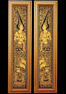 Image is loading Home-Decor-Lacquer-Black-Gilted-Thai-Art-2- & Home Decor Lacquer Black Gilted Thai Art 2 DVARAPALA Handmade God of ...