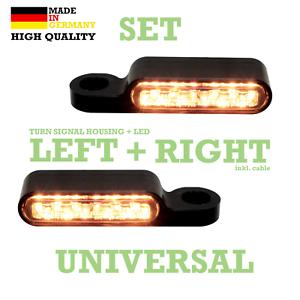 Harley-LED-Blinker-getoent-Blinkerhalter-Lenker-Armatur-E-geprueft-Softail-paar