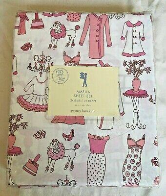 Pottery Barn Kids Amelia Twin Pink Flowers Dog Sheet Set