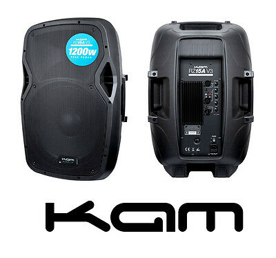 """KAM RZ15A-V3 15"""" 1200W PEAK ACTIVE DJ PA TWO-WAY INJECTION MOULDED SPEAKER NEW"""