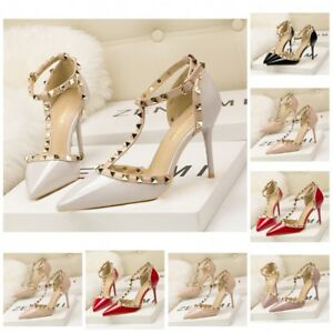 fbbe3a38b0 UK Womens Studded Pointed Toe Ankle Strappy Pumps High Heels Rivet ...