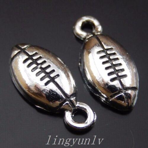 140 pièces alliage d/'argent ballon de rugby Charms Pendentifs 15x7mm Vintage Bijoux 39977