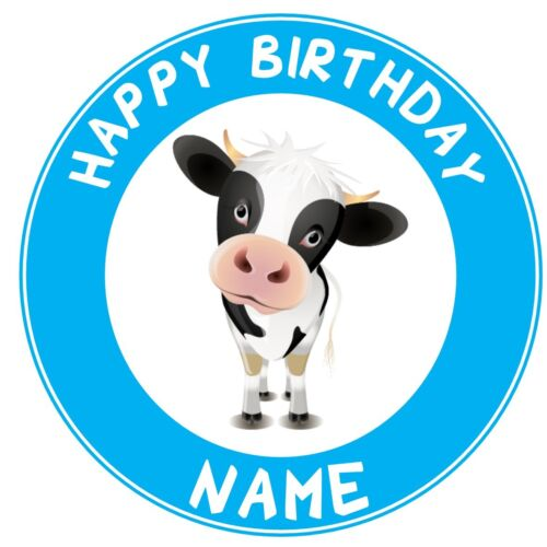 ND2 cute cow farm barn yard animals personalised round cake topper icing