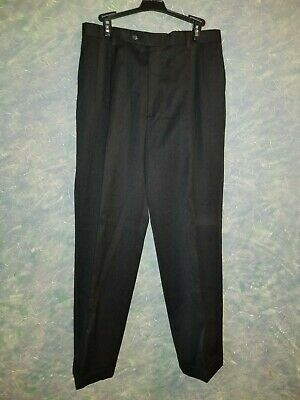 Austin Reed London Size 33 X 31 Mens Black Pleated Cuffed Dress Pants Ebay