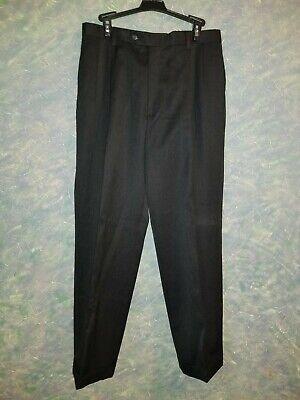 Austin Reed London Size 33 X 31 Mens Black Pleated Cuffed Dress Pants Ebay