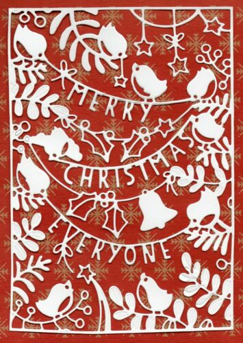TOPPER WHITE SILHOUETTE 6 NEW MERRY CHRISTMAS ROBIN SCENE CARD FRONT DIE CUTS