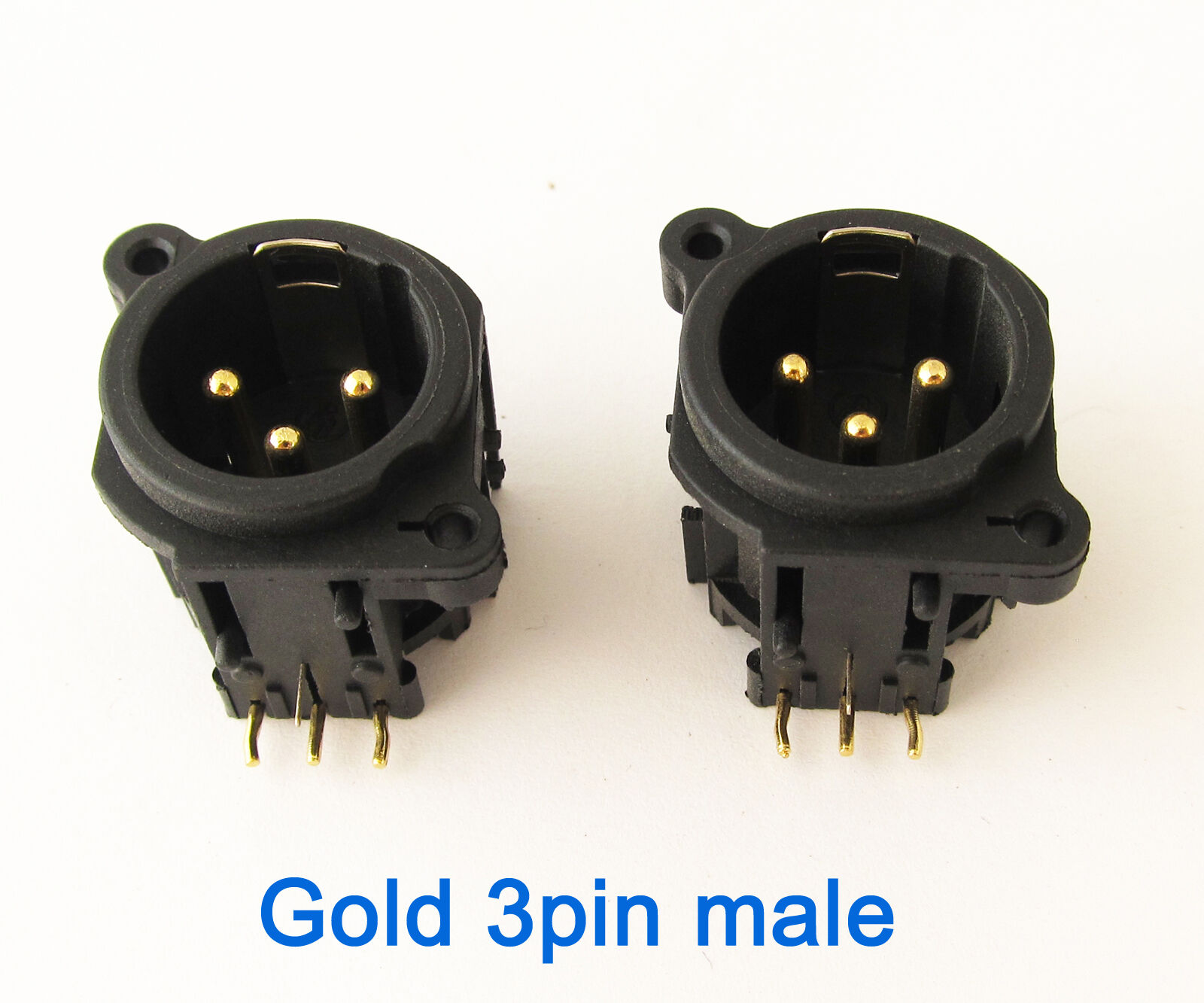 50x Microphone XLR 3pin Male Gold Pins Panel Mount Chassis PCB Socket Connector