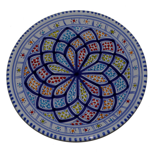 Orientalischer Keramik-Teller Handbemalt Deko Mediterran Kunsthandwerk Ø 24cm