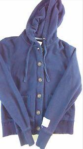 Aeropostale-Jacket-Womens-SZ-M-L-Button-Zip-Up-Lined-Hood-Navy-Blue-Aero-Coat
