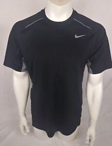 Nike-Mens-Dri-Fit-Short-Sleeve-Shirt-Black-Gray-Trim-Sz-Medium