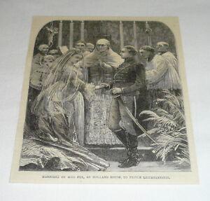 1878-magazine-engraving-PRINCE-LEICHTENSTEIN-MARRYING-MISS-FOX-HOLLAND-HOUSE