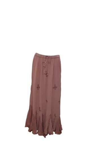 PLUS SIZE BOHO HIPPIE EMBROIDERED BEADED SCALLOPED HEM GYPSY SKIRT SIZE 12-24