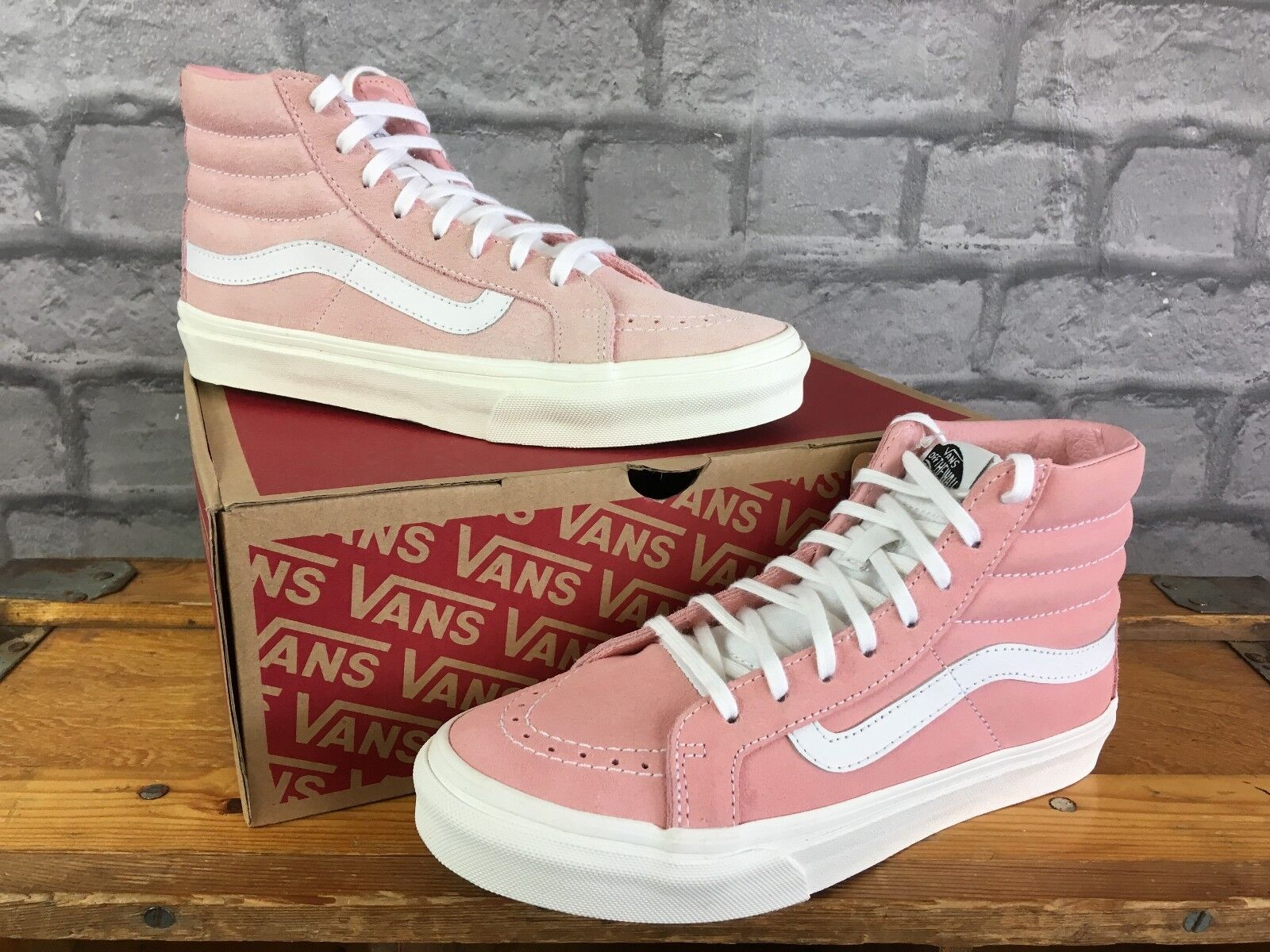 VANS LADIES UK 3 EU 35 BLOSSOM PINK & WHITE SUEDE SK8 HI SLIM TRAINERS