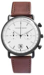 Leonardo-Verrelli-Herrenuhr-Weiss-Braun-Kunstleder-Datum-Chrono-Look-X2900207004