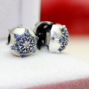 1c4bd837e Image is loading AUTHENTIC-PANDORA-CRYSTALLIZED-SNOWFLAKE-CLIPS -PAIR-791997NMB-WINTER-